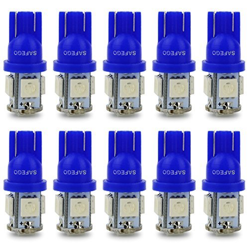 Safego 10 x T10 W5W LED LAMPADINE W5W 194 168 5 SMD 5050 blu LED luci dell'automobile Bulb 12V diretto Replacment e Reverse per Auto RV Interni Segnale cuneo Tipo