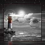 Artland Qualitätsbilder I Wandtattoo Wandsticker Wandaufkleber 50 x 50 cm Landschaften Küste Digitale Kunst Schwarz Weiß C5BZ Leuchtturm und Segelschiff im Mondschein