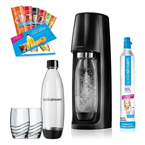 flaschen fuer sodastream SodaStream Easy PROMOPACK Wassersprudler zum Sprudeln von Leitungswasser, ohne schleppen!  mit 1 Zylinder, 2* 1L PET Flasche (BPA FREI!), 2 Design Trinkgläsern sowie 6 Sirupproben; Farbe: schwarz