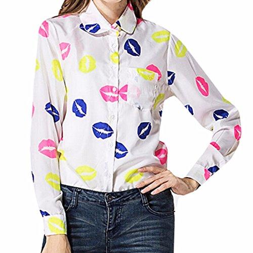 QIYUN.Z Frauen-Ol Langarm Reverskragen Art Und Weise Druckte Hemd T-Shirts