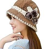 Bonnet femme, Koly Bonnet tricoté au crochet Adulte femme Beret Chapeau en Laine avec décoration florale et perle d'hiver chaud (Kaki)