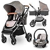 Lionelo Greet Kombikinderwagen 3 in 1 Baby Kinderwagen Buggy Komplettset mit soft Babywanne und Babyschale Kindersitz 0-13 kg Zubehör