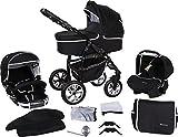 Milk Rock Baby Macano S Kinderwagen mit 3 Gestellfarben (Autositz, Regenschutz, Moskitonetz, Schwenkräder) MO23 Black / Schwarz & Naht Weiß