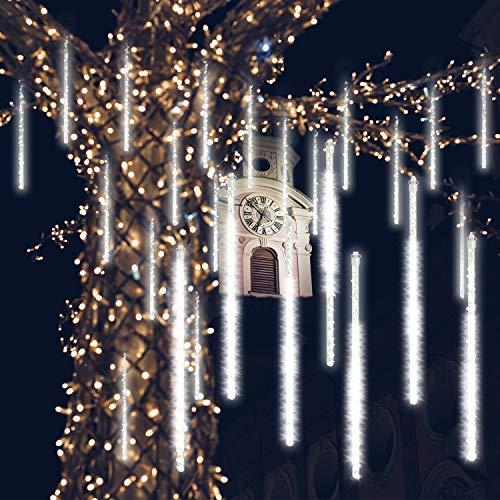 Gpoder doccia pioggia luci 30cm, 8 impermeabile spirale tubo luci della pioggia di meteore, 288 leds waterfall light per natale/esterno/albero/casa/giardino/all'aperto decorazione(bianco)