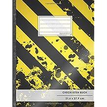 """Checklisten-Buch: DIN A4 • 70+ Seiten, Softcover, Register, """"Schwarz-Gelb"""" • #GoodMemos • 18 Checkboxen + Platz für Notizen/Seite (inkl. Register mit Datum uvm.)"""
