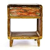 Divero Vintage Nachtschrank Nachttisch Schränkchen Beistelltisch – Shabby Chic Möbel Unikate aus Recycling-Holz Bootsholz – Bunt 45 x 35 x 55 cm