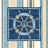 Feeling at home Póster, fuer Kunstdruck Rahmen-Bild Nautical Stripe, IV, 57 x 57 cm