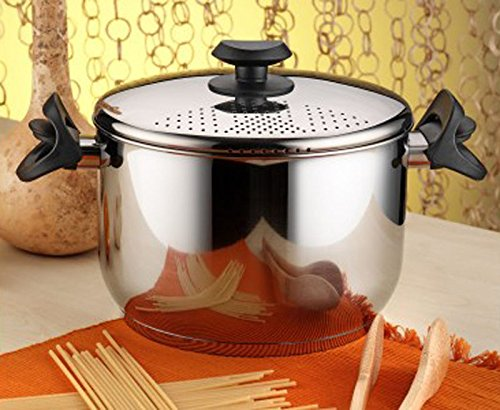Stainless Steel Pasta Pot Spaghetti Pot With Locking Strainer Lid 22 cm Induction