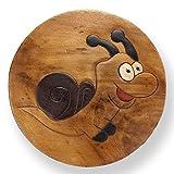 ART-CRAFT KH035 Kinderhocker Holz Schemel mit Tiermotiv Schnecke bemalt und beschnitzt Höhe 27 cm