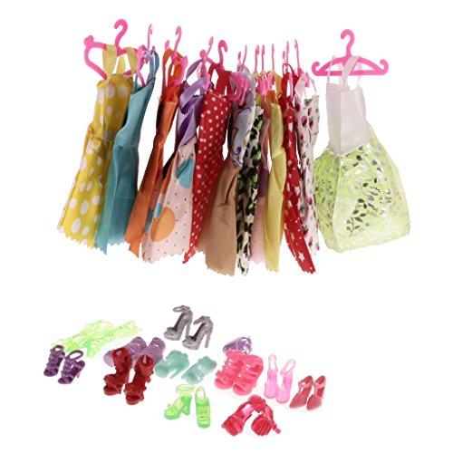 Sharplace Bekleidung Outfit Set für Barbie Puppen - 12 Stück Röcke + 12 Stück Kleiderbügel + 12 Paar Schuhe