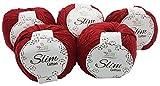 ReTwisst 500 Gramm Slim Cotton Yarn, 5 x 100 Gramm Garn zum Häkeln, Stricken und Basteln(Amigurumi), gesamt ca. 850m Lauflänge, 85% Baumwolle, Auswahl (Bordeaux)