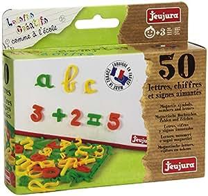 JeuJura - Loisir Créatif - Comme à l'école - 50 lettres, chiffres et signess aimantés