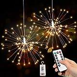 Sporgo Feuerwerk Licht,2 Stück 120 LEDs Feuerwerk Lichterkette mit 8 Modi Beleuchtungs,Wasserdicht Feuerwerk LED Licht Ideal Für Weihnachten Dekoration,Garten,Terrasse,Hochzeit,Party