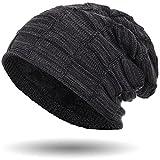 Compagno caldo berretto beanie sportivo ed elegante modello design unicolore, Colore:Nero melange
