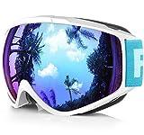 Findway Gafas de Esquí,Máscara Gafas Esqui Snowboard Nieve Espejo para Hombre Mujer Adultos Juventud Jóvenes, Anti Niebla Gafas de Esquiar OTG,Protección UV Azul Esférica Lentes