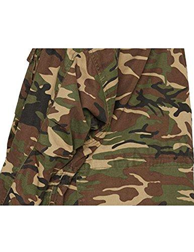 Sitengle Donna Giacca Casual Retrò Stile Militare Camouflage Cappotto Jeans Giacche Cappotti Verde