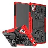 Schutzhülle Sony Xperia XA1 Ultra Hülle, Dual Layer Rüstung Kombination Stoßfest Heavy Duty Schild Harte Schale für Sony Xperia XA1 Ultra (Rot)