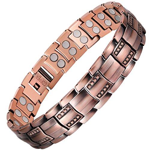 VITEROU Unisex-Armband aus reinem Kupfer mit doppelreihigen Magneten zur Schmerzlinderung bei Arthritis, 3500 Gauss
