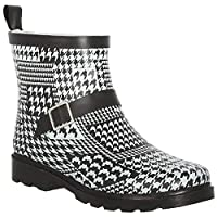 Capelli New York Ladies Shiny Houndstooth Collage Printed Short Sporty Lined Rainboot White Combo 8