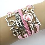 Malloom® HOT pulsera Bañado En Plata corazón de la perla amor llave cuero brazalete encantado