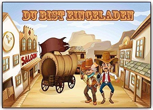 Einladungskarten Kindergeburtstag Cowboy Einladung Geburtstagskarten wilder Westen (8 Stück) Cwboys Indianer Geburtstag Party Feier Karneval Fasching