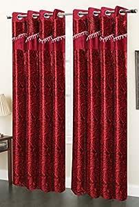 Homefab India Set of 2 Designer Rose Red Door Curtain - 7 ft