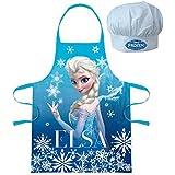 Walt Disney Congelado El Reino Del Hielo (101344) Niños Conjunto de Chef Ejecutivo Delantal de cocina y Gorro de chef, 2 piezas