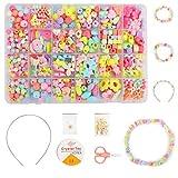 Ucradle Perlen zum Auffädeln Schmuck Set- 550pcs Kinder DIY Armbänder Selber Machen Kunsthandwerks-Set für Mädchen Kinder, 24 Farben (Hellen Farbe)