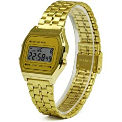 TRIXES Gold Band Retro 80's 90's Fashion Digital Wrist Watch