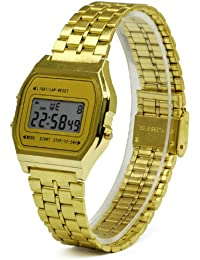 4c4066279e7736 TRIXES Goldband Retro 80er 90er Mode-Digitalarmbanduhr