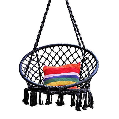 WFFH Swing & Hanging Chair, Gestrickt Von Cotton Rope Mit Romantischen Fransen Macrame Hammock Swing Chair Für Indoor/Outdoor, Terrasse, Deck, Hof, Garten, Bar -