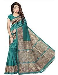 Indian Fashionista Women's Kalamkari Mysore Silk Saree with Blouse Piece (Printed Saree) (NMk-4_Free Size_Rama)