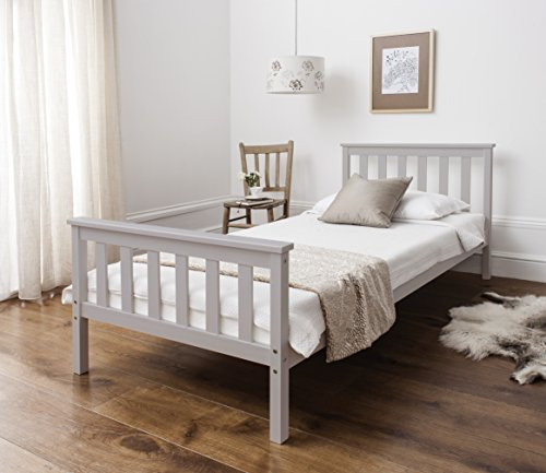 Noa and Nani - Dorset 3ft Single Bed with Wooden Frame - (Silk Grey)