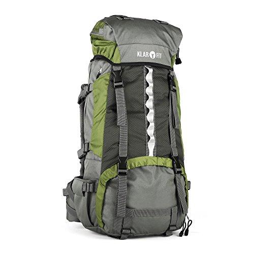 Klarfit Heyerdahl-2014 Sac à dos sport avec housse imperméable incluse (trekking/randonnée/camping, grande contenance de 70L, design Cool Air, support baton) - vert