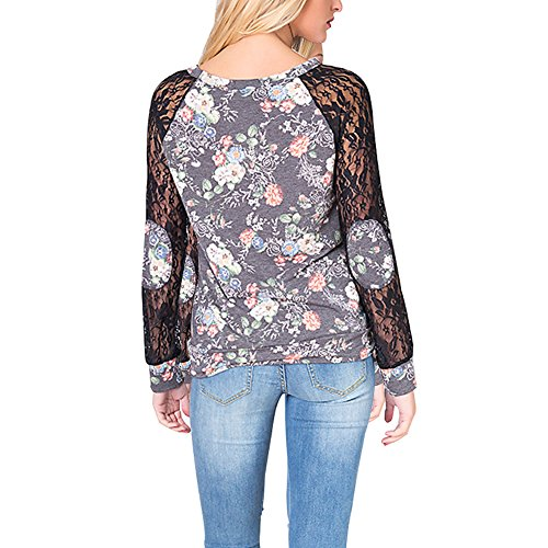 Lover-Beauty Sweatshirts Damen Baseball Langarmshirt Pullover Langarm Herbst Winter Warm Streetwear,Sport Hoodies Blumen Schwarz