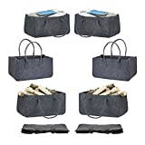 Relaxdays 8 x Kaminholztasche aus Filz, tragbarer Kaminholzkorb, Faltbare Filztasche, anthrazit
