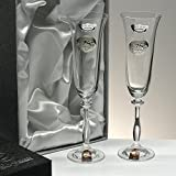 Set/Estuche de 2 copas de champán para novios, bodas de plata/oro, aniversarios, colección