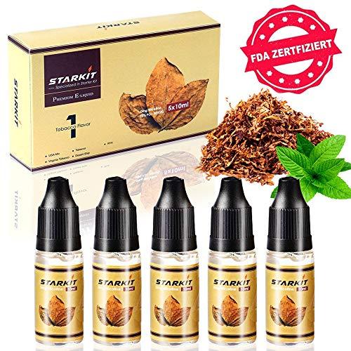 E Liquids 5 X 10ml,Tabak Geschmack für E Zigarette Starter Set SMOK E Shisha,STARKIT E liquid PG70% VG30% 0mg Kein Nikotin USA MIX|Tabak|RY4|Virginia|Desert Geschmack EJuice(Traditionelle Tabak)