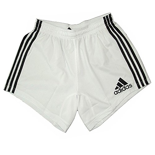 Adidas Rugby Shorts 3strisce Shorts, Bambini, Bianco, UK-16Y/D-176/F-16 ans - 3 Strisce