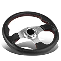 DNA Motoring SW-ZTL-9042-SL Leather Cover Steering wheels + Horn Button,Silver Spoke / Red Stitch