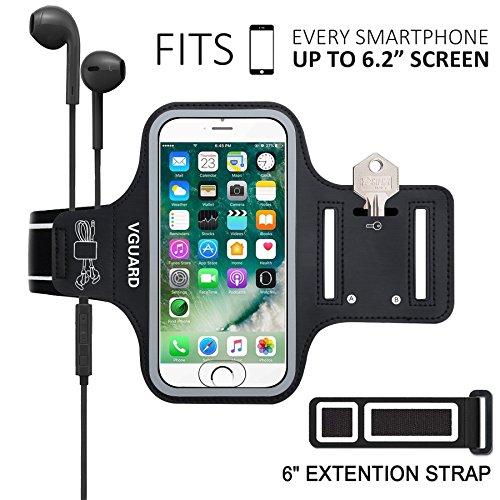 VGUARD Universel Brassard Sport pour iPhone X/8 Plus /7 Plus Jusqu'à 6.2 Pouces [Compatible fonction ID Touch] Sport Sweatproof Anti-Sueur Etui Armband Unisexe avec Porte-Clés,Attache pour Câble, Porte-Cartes et Bandes Reflechissantes Bon Maintien pour de Course, Jogging, Vélo, Pêche avec 2 Sangles Réglables Compatible avec iPhone X/8 Plus/7 Plus/6 Plus/8/7/6/5 , Samsung Galaxy S8+/S8 /S7 /S7 Edge/S6/S5, Huawei, Wiko, LG, Motorola et les Autres Smartphones Jusqu'à 6.2 Pouces (Noir)