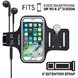 VGUARD Brazalete Deportivo para 6.2 Pulgados iPhone X/8 Plus/7 Plus [ID Touch Compatibles] Caja del Brazalete Antideslizante para Deportes con Soporte para Llaves, Cables, Tarjetas y Banda Reflectante para iPhone X/8 Plus/7 Plus/6s Plus/8/7/6/5, Samsung Galaxy S8+/S8/S7/S7 Edge/S6/S5, Huawei P10/P9/Honor 8, Nexus 6P/5X, BQ, ASUS, LG, Motorola y otros Teléfonos Inteligentes de Menos de 6.2 Pulgadas. (Negro)