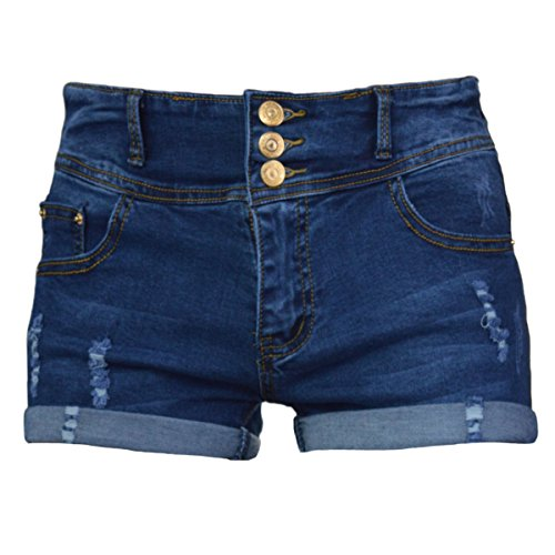 PHOENISING Women's Comfy Denim Pants Stretchy Ripped Hole Short Shorts,Size 6-20
