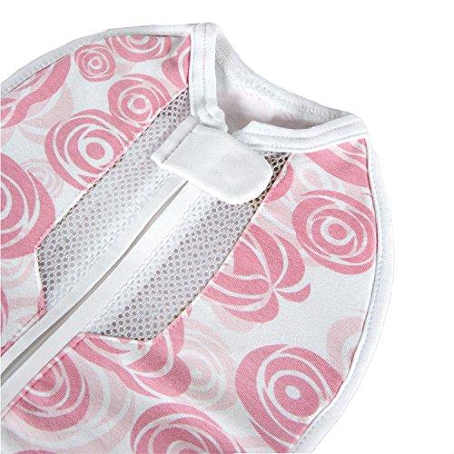 Woombie Air Roses - Atmungsaktiver Pucksack aus Bio-Spandex-Baumwolle für Säuglinge im Alter von 3 bis 6 Monaten mit einem Gewicht von 6,5-9 kg