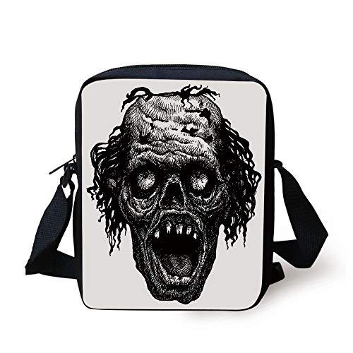 Halloween,Zombie Head Evil Dead Man Portrait Fiction Creature Scary Monster Graphic,Black Dark Grey Print Kids Crossbody Messenger Bag Purse