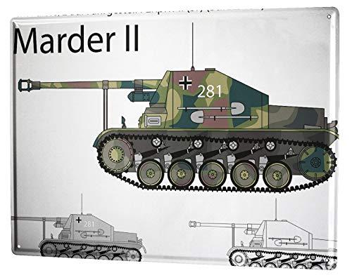 LEotiE SINCE 2004 Blechschild Vintage Retro Metallschild Wandschild Blech Poster Retro Motiv Marder II Panzer