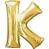Folienballon - BUCHSTABE K GOLD - XXL 70cm, Luftballon mit Buchstaben + PORTOFREI mgl + Geschenkkarte + Helium & Ballongas geeignet. High Quality Premium Ballons vom Luftballonprofi & deutschen Heliumballon Experten. Luftballon Geschenk und lustige Ballon Deko