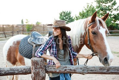 druck-shop24 Wunschmotiv: Happy attractive young woman cowgirl with horse on ranch #122832547 - Bild auf Forex-Platte - 3:2-60 x 40 cm/40 x 60 cm