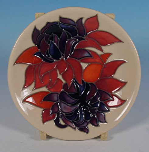 A Moorcroft Ruby Red Flowers Coaster Pin Tray Emma Bossons Shape 780/4 Rrp £155