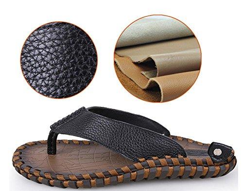 2017 estate dei nuovi uomini di pelle infradito, sandali andamento del primo strato di pelle sandali fatti a mano personalità Black